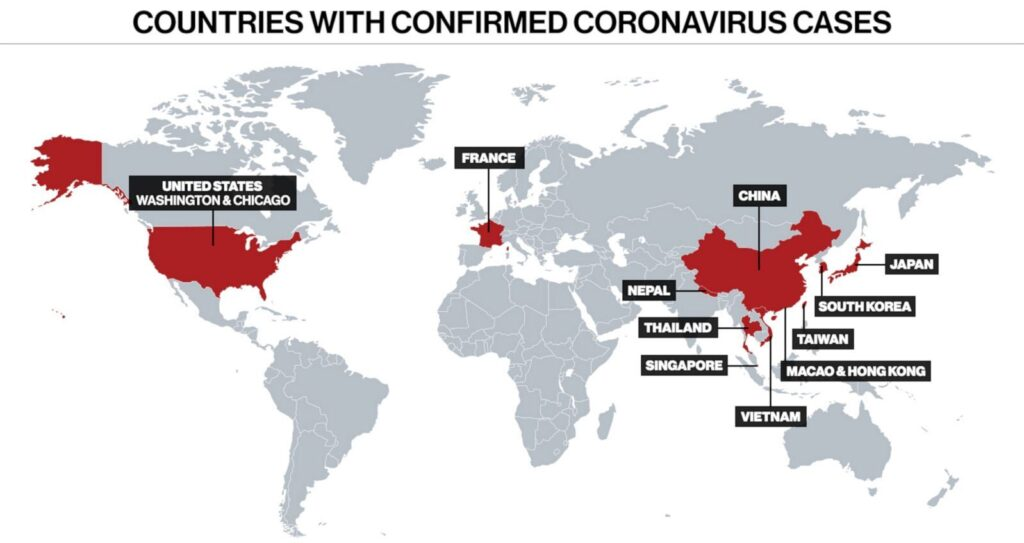 Countries affected by coronavirus